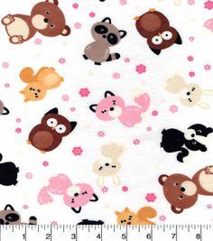 Snuggle Flannel Fabric-Cute Woodland Friends