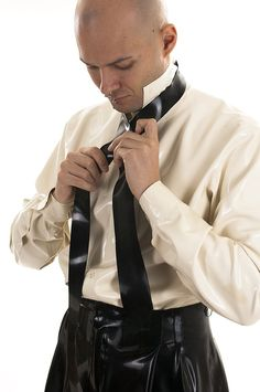 Black latex tie with motif - AbstinenceLatex