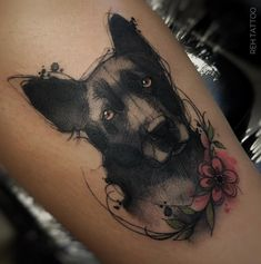 Find the tattoo artist and the perfect inspiration to get your tattoo. - Tattoo created by Renata Henriques from São Paulo. Dog in black and gray tones. Tattoos Skull, Dog Tattoos, Animal Tattoos, Body Art Tattoos, Small Tattoos, Flower Tattoos, German Shepherd Tattoo, Dog Memorial Tattoos, Tattoo Bein