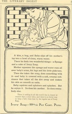 1907 Ad Mother Washes Baby in Tub with Ivory Soap