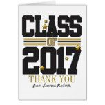 Black|Gold Graduation Thank You Card