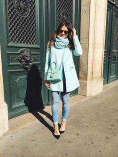 Thassia Naves - mint green coat and purse with jeans