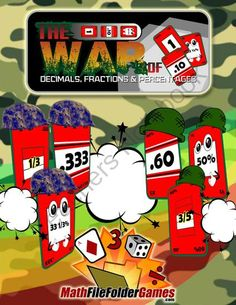 """The War of Decimals, Fractions & Percentages Game from MathFileFolderGames.com on TeachersNotebook.com -  (24 pages)  - Each player then turns one card over. The player who dealt the card with the higher value wins """"the battle"""" and takes both cards and forms a pile."""