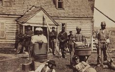 Contrabands at Headquarters of General Lafayette,  American Civil War - fugitive slaves, cooks, laundresses, laborers, railroad repair crews, etc. fled to the Union Army but were not officially freed until 1863 by the Emancipation Proclamation.