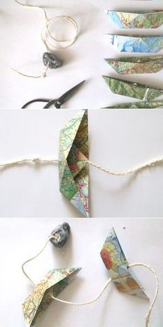 Atlas sandpaper boat garland {upcycling - Globes,map arts and crafts - Origami Upcycled Home Decor, Upcycled Crafts, Diy And Crafts, Arts And Crafts, Origami Tutorial, Diy Tutorial, Diy Décoration, Easy Diy, Cool Diy