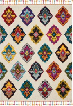 The Moroccan Casbah Collection transports you to a vibrant and colorful Moroccan rug market, with richly hued tribal rugs that feature a combination of exciting designs, multicolor fringes, and plush, luxurious fibers. Irregular diamond designs on...