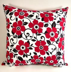 Floral Pillow Cover...Cotton Pillow Case...Red Black White....Handmade Accent Pillow....Throw Pillow