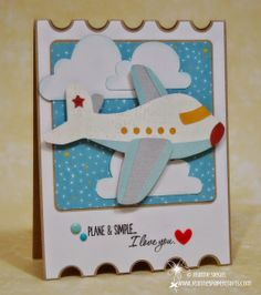 Jeanne's Paper Crafts: Plane and simple. Baby Birthday Card, Kids Birthday Cards, Handmade Birthday Cards, Planes Birthday, Travel Cards, Cricut Cards, Baby Shower Cards, Congratulations Card, Get Well Cards
