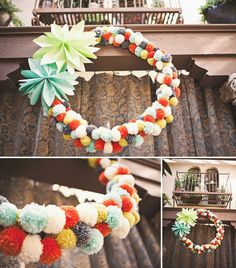 I like the wreath but not so much the flowers. A little pom pom wreath, however, all on it's own: awesome. Christmas