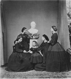 The daughters of Queen Victoria mourning the death of their father, Prince Albert (1862)