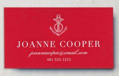 Chesapeake Engraved Flame Red Calling Cards with Anchor