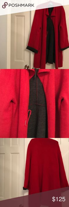 Beautiful Long Red/Black Sweater Jacket Brand: Elena Wang Size: XL.  Red/Black Long Sweater Jacket with cute pin at waist.  Pockets.  Never worn.  Still has tags.  Would look great with leggings and boots. Elena Wang Jackets & Coats