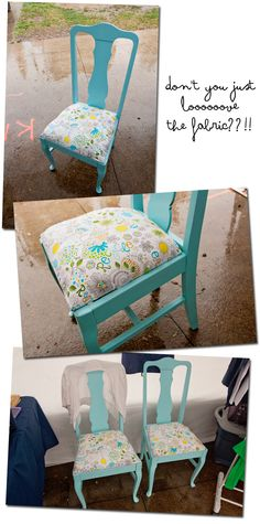 Refurbished chairs. Michael Miller fabric  some sweet blue paint.