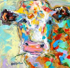 Original oil painting #Cow portrait abstract by Karensfineart