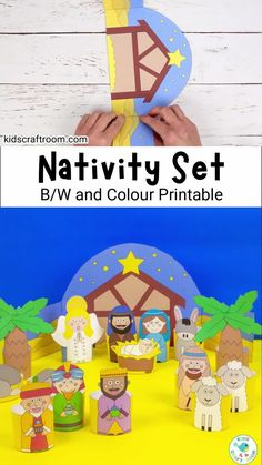 This Printable Nativity Set is so cute and easy to make! Simply print, cut, stick and then play with your own adorable nativity scene. It's a lovely Christmas craft for kids and comes in full colour and a colour it in yourself version too. #kidscraftroom #kidscrafts #christmascrafts #nativityset #nativityscene #nativitycraft #sundayschoolcrafts #christiancrafts