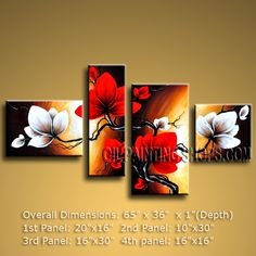 Tetraptych Contemporary Wall Art Floral Painting Tulip Flower On Canvas. In Stock $155 from OilPaintingShops.com @Bo Yi Gallery/ ops2537