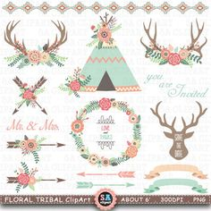 "Floral Tribal ClipArt "" FLORAL TEEPEE TENTS ""clip art.Floral Antlers,Teepee Tents,Wedding floral,Arrow,Wreath,Wedding Invitation Trb011 by SAClipArt on Etsy"