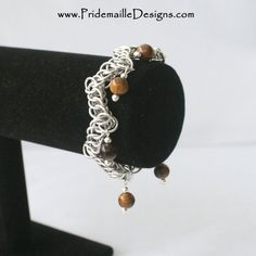 ZigZag Half Persian Bracelet with Tiger's Eye beads - Chainmaille. $30.00 USD, via Etsy.