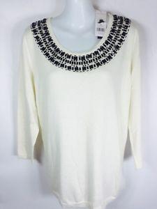 Dana Buchman Ivory Three Quarter Sleeve Embellished Knit Sweater M   eBay