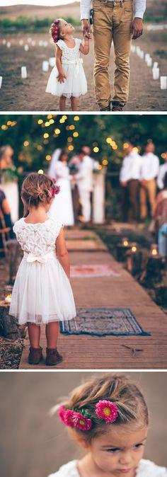 flower girl crown. flower girl during ceremony. flower girl and daddy.