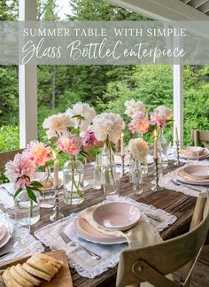 I decided to keep the place settings simple as well, so I used some pretty, white linen placemats topped with a classic white charger and a blushing pink plate and bowl. Outdoor Table Centerpieces, Outdoor Table Settings, Bottle Centerpieces, Centerpiece Ideas, Table Decorations, Modern Farmhouse Design, Farmhouse Style, Table Setting Inspiration, Romantic Table