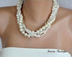 3 conjuntos novia cristal collares de perlas por HMbySemraAscioglu