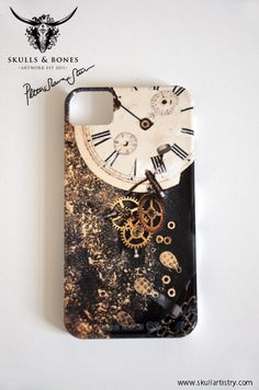 Iphone Design Case: Kronhan - The Death Clock. Skulls & Bones Artwork by Petra Shara Stoor