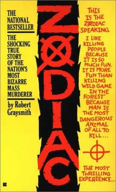 I was for real paranoid for at least a week after I read this book, even though the Zodiac Killer hasn't been active in 20 years...