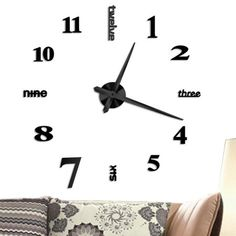 Frameless Wall Clock Large Modern 3d Mirror Wall Clock Mute Diy Wall Stickers For Living Room Bedroom Home Decoration Black Walmart Com In 2020 Diy Clock Wall Oversized Wall Clock Black Wall