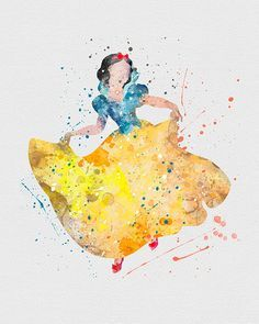 Snow White Watercolor Art - VIVIDEDITIONS