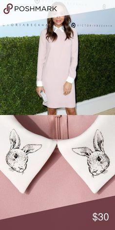 2261eadac951 Victoria Beckham Long Sleeve Blush Bunny Dress Dainty Victoria Becham Blush  Dress with Cute Little Bunnies