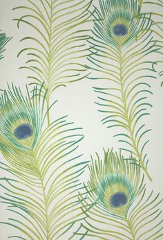Themis Vinyl Wallpaper An opulent vinyl wallpaper featuring a repeat of beautiful peacock feathers on cream.