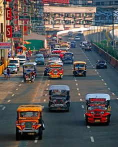 Manila Philipines : Jeepneys are the most common form of public transport throughout the many islands of the Philippines. The drivers will slow down enough to enable the passengers to jump on or out. Davao, Bohol, Palawan, Cebu, Makati, Iloilo, Vietnam, Philippine Holidays, Filipino Culture