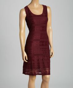 This Oxblood Lace Scoop Neck Dress is perfect! #zulilyfinds