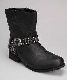Another great find on #zulily! Black Stud Buckle Boot - Women by Shoes of Soul #zulilyfinds