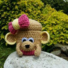 Crochet bear cup