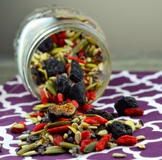 Nut free trail mix—using dried cherries, figs, goji berries, raw sunflower and pumpkin seeds, and cocoa nibs