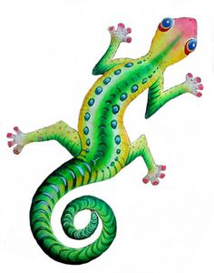 Tropical Green Gecko - Painted Metal Tropical Wall Decor