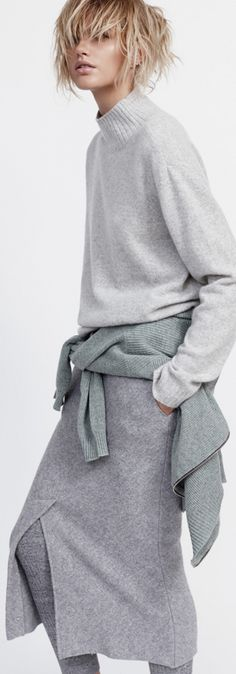 Grey knitted jumper Sass & Bide, grey cardigan Fine Collection, Knitted skirt Bassike, knitted leggings Country Road
