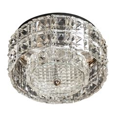 Sophisticated MId-Century Cut Crystal Flush Mount Chandelier by Carl Fagerlund 5.5 in. (14 cm) DIAMETER:12.5 in. (32 cm)