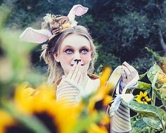 The White Rabbit, in a photo shoot called Waiting for Alice. Creative Photography, Magical Makeup, Whimsical Makeup, White Rabbit, Alice in Wonderland, Sunflowers, Rabbit, Unique costume Ideas, Cool Makeup, Whimsical, Whimsical Photography, Tera Torchio, www.TeraTorchio.com
