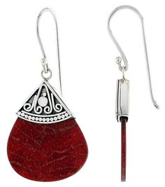 "Sterling Silver Teardrop-shape Natural Red Coral Earrings 1"" (25 mm)"