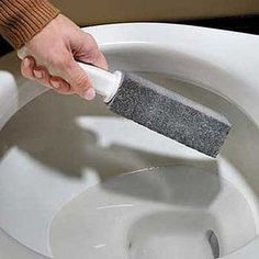 How to Clean That Nasty Toilet Bowl Black Stain ... requires using pumice stone, which I have for foot care. Must keep the pumice stone wet during use or it will scratch your bowl.