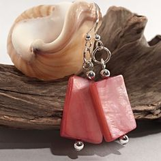 Think pink! Fun and fashionable bright pink earrings for special days and everyday! Pink Earrings, Shell Earrings, Dangle Earrings, Silver Anklets, Great Gifts For Mom, Strand Bracelet, Bright Pink, Artisan Jewelry, Everyday Fashion
