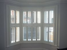Bay window plantation shutters for the window seat & LR windows - Future stained glass for the upper middle section. Diy Interior Shutters, Interior Windows, Interior Paint, Bay Window Treatments, Window Coverings, Window Valances, House Blinds, Blinds For Windows, Shutter Blinds