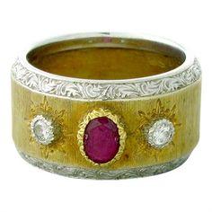 Buccellati 18K White Yellow Gold Ruby Diamond Wide Band Ring http://oakgem.com/