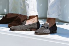 White Chinos & String Loafers.