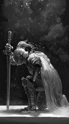 f Paladin Plate Armor Helm Cloak Longsword female Temple Shrine Deciduous forest Farmland lg Fantasy Armor, Medieval Fantasy, Dark Fantasy, Illustration Fantasy, Marshmello Wallpapers, Inspiration Drawing, Knight Tattoo, Fantasy Kunst, Armadura Medieval