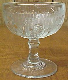 Jeannette Glass Crystal IRIS and HERRINGBONE 4 Inch Tall Sherbet or Ice Cream Dish. $25