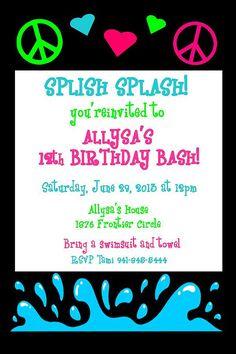 Girls Tween Teen Peace Sign Hearts Pool Party by AuntiesSweetLife, $20.00